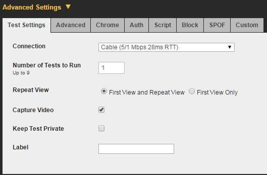 Настройки тестирования Webpagetest