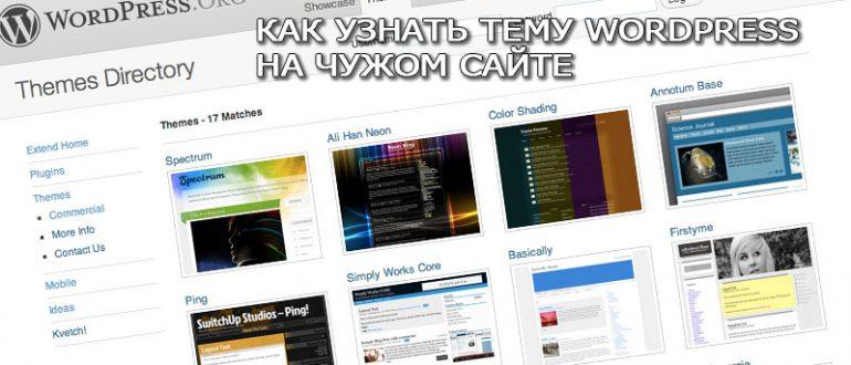 Как узнать тему Wordpress на чужом сайте